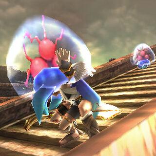 Dos Monstroides en Kid Icarus: Uprising, uno atacando a Pit.