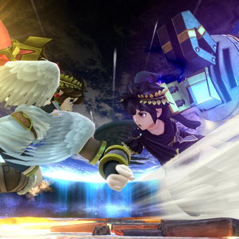 Pit y Pit Sombrío usando sus movimientos especiales laterales en Super Smash Bros. para Wii U