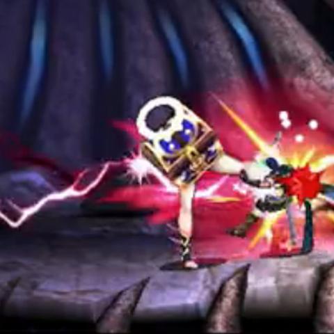 Cofrémina atacando a Marth en Super Smash Bros. para 3DS