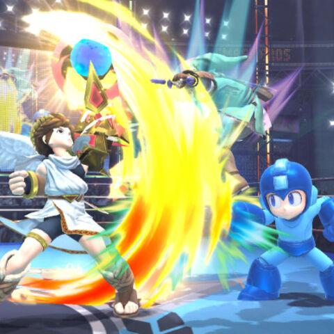 Pit golpeando a Link.