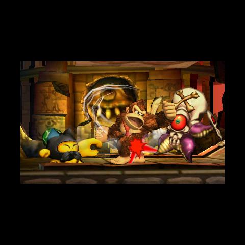 Donkey Kong atacando a un Huerrero en el modo Smashventura, de Super Smash Bros. para 3DS