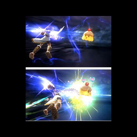 Pit atacando a una Eurídulce en Kid Icarus: Uprising