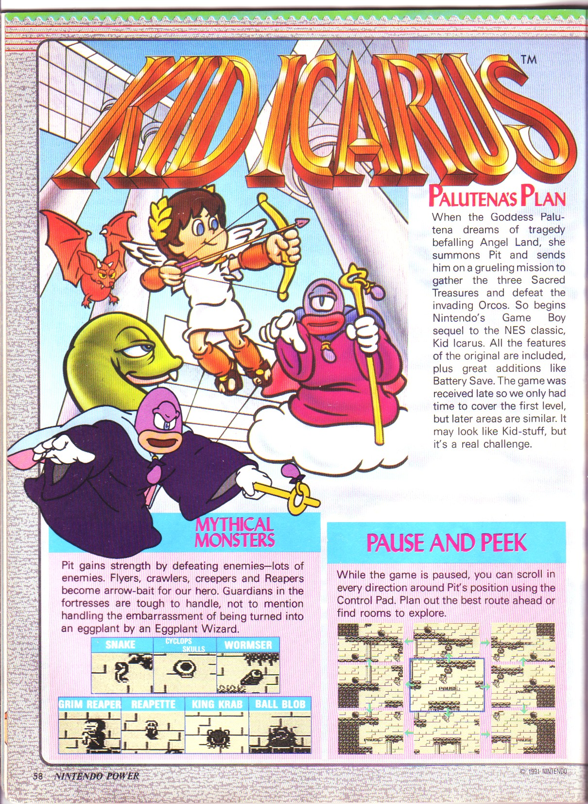 Pagina De Nintendo Power Sobre Kid Icarus Of Myths And Monsters