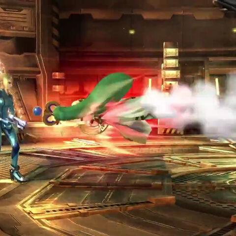 Palutena usando Misil alado contra Smaus Zero en Super Smash Bros. para Wii U