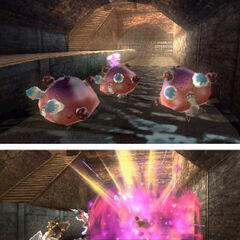 Tres Amorfongos explotando en Kid Icarus: Uprising