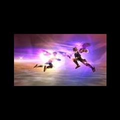 Pit Sombrío usando el báculo contra Pit en Kid Icarus: Uprising