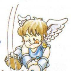 Artwork de Pit con el mazo en Kid Icarus
