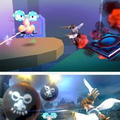 Rinitis atacando a Pit en Kid Icarus: Uprising