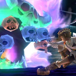 Orne atacando a Pit en Kid Icarus: Uprising
