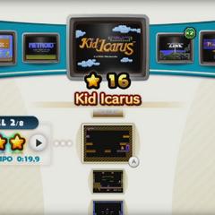 El Menú de selección de juego que muestra a Kid Icarus.