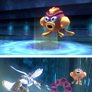 Pit atacando a Octos en Kid Icarus: Uprising
