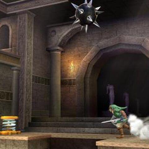 Link y el Aldeano en el Reino del Cielo, donde se puede observar la bola de pinchos, en Super Smash Bros. para Wii U