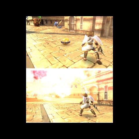 Una granada siendo usada por Pit en Kid Icarus: Uprising