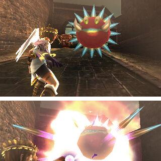 Pit atacando a Minos en Kid Icarus: Uprising