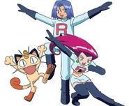 Team Rocket (Jessie, James, and Meowth).