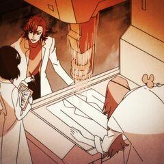 Кинуэ вместе с Цумугу и Иссином, во время исследования