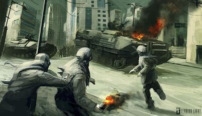 A Union riot on Vekta attacking the Helghast