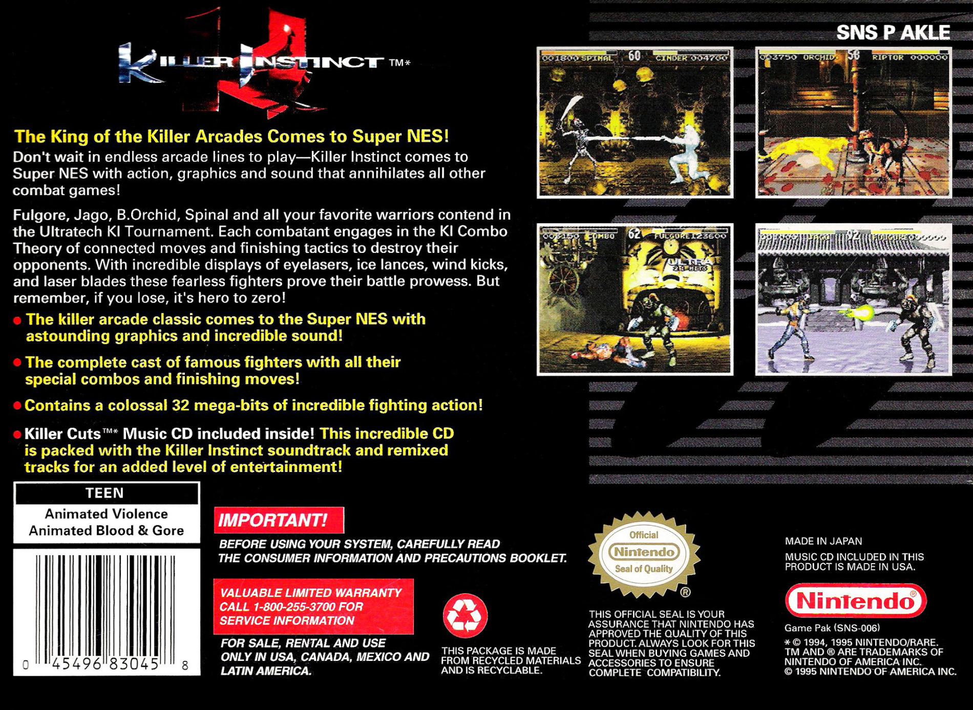 killer instinct 1994 video game killer instinct wiki fandom rh killerinstinct wikia com killer instinct snes instruction booklet killer instinct snes guide pdf