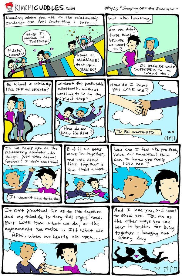 Kimchi Cuddles Comic 460 - Jumping OFF the Escalator