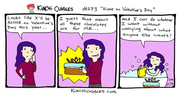 Kimchi Cuddles Comic 273 - Alone on Valentine's Day