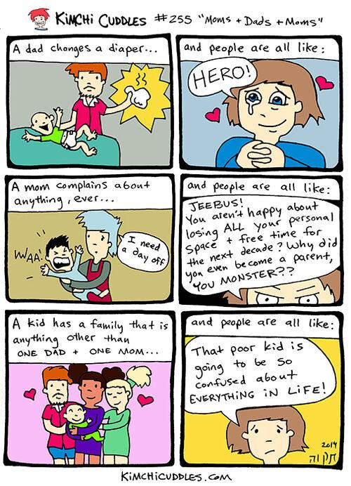 Kimchi Cuddles Comic 255 - Moms + Dads + Moms