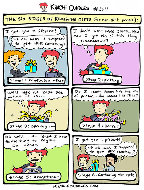 Kimchi Cuddles Comic 284 - The Six Stages of Receiving Gifts (for non-gift people)