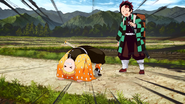 Tanjiro bumps into Zenitsu EP11