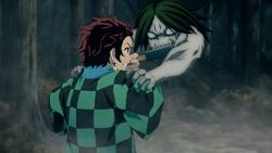 Tanjiro fighting the Temple Demon
