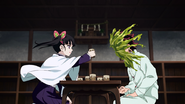 Kanao beating Tanjiro in the water cup game