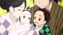Tanjiro and Nezuko as babies