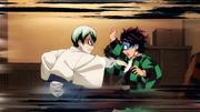 Yushiro hitting Tanjiro for asking about Tamayo's age