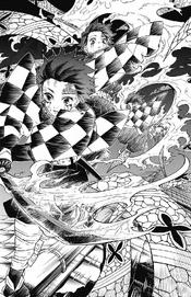Tanjiro slashing Daki's obi
