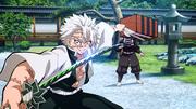 Sanemi about to stab Nezuko