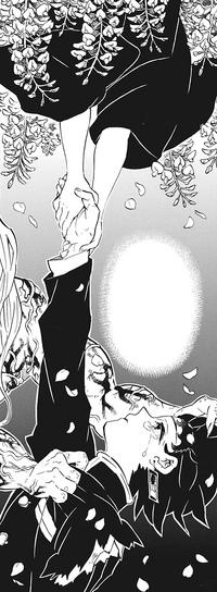 Nezuko's hands pull Tanjiro up CH203