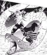Obanai slicing Muzan's tentacles off with his red blade CH190