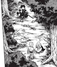 Tanjiro discovers Rui in the forest