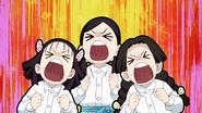 Kiyo, Sumi, and Naho cheering for Tanjiro