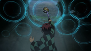 Tanjiro using Seventh Form Drop Ripple Thrust-curve on the temari