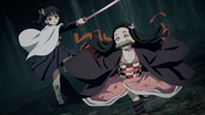 Nezuko getting smaller to dodge Kanao's attack