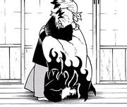 Kyojuro abrazando a su hermano