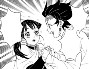 Tanjiro advising Kanao to follow her heart instead of the coin CH53
