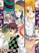 Inosuke, Tanjiro, Nezuko and Zenitsu in formal wear
