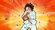 Tanjiro blowing up the gourd