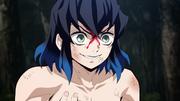 Inosuke's mask falling off