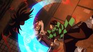 Tanjiro beheading Kyogai