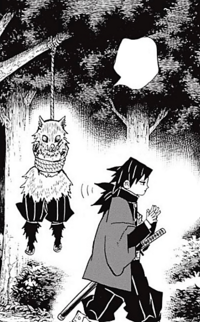 Giyu tying up Inosuke in a tree CH38