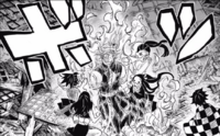Nezuko setting Tengen on fire