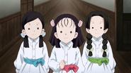Sumi, Kiyo and Naho giving advice to Tanjiro