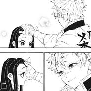 Sanemi patting Nezuko's head CH204