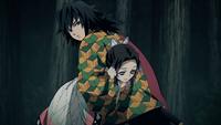Giyu holding down Shinobu
